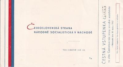 Pozvánka ples ČSNS strany, Náchod