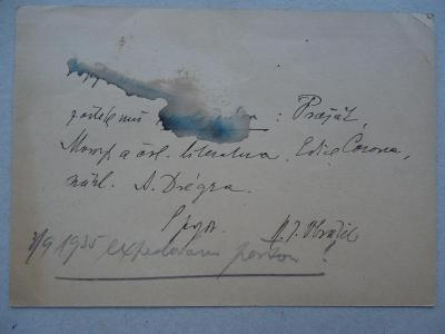 Karel Jaroslav Obrátil /1866 - 1945/-lístek p.Zinkovi s podpisem-1935