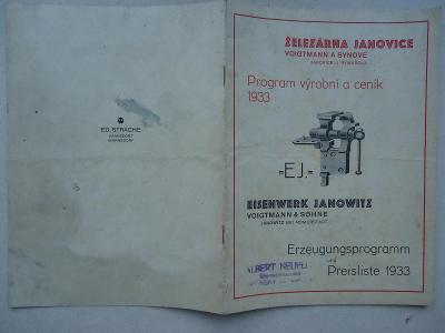 Janovice u Rýmařova - Železárna Voigtmann a synové - ceník 1933