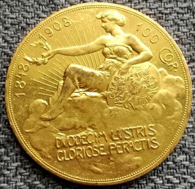RR! Výroční 100 korona 1908 originál původní ražba 33.9g Au TOP STAV!