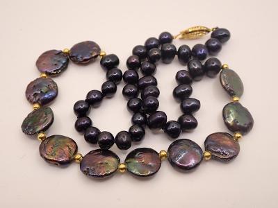 Náhrdelník pravé tahitské perly délka 47,5cm