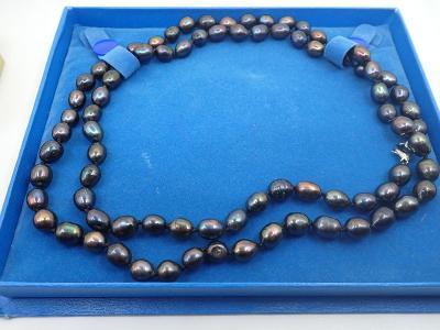 Náhrdelník pravé tahitské perly, dvouřadý délka 90cm