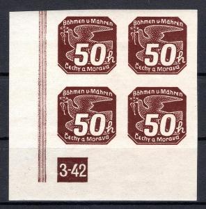 Protektorát/NV 8, levý dolní krajový 4 blok s DČ 3-42, hnědá 5/1911/15
