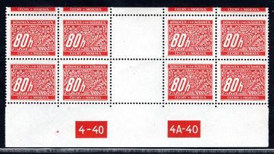 Protektorát/DL 8, doplatní, 4 zn. horní řezané meziarší, DČ 4-/2076/17