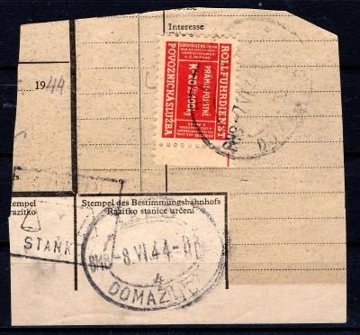 Protektorát/část průvodního listu zásilky ze Staňkova do Domaž/1815/12