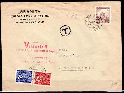 """Protektorát/firemní obálka  s červeným razítkem """" VIKTORIA """", /1989/13"""