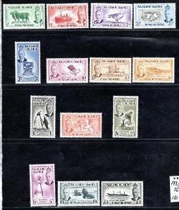 Anglické Kolonie/Falklandy - SG. 172 - 85, Jiří VI,, kompletní/3071/18