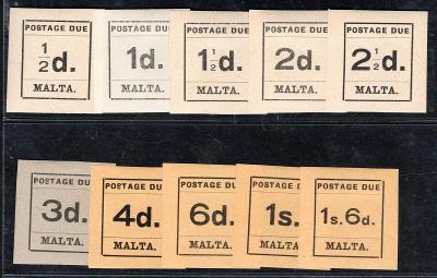 Anglické Kolonie/Malta P 1 - - P 10 - Postague Due - krásné st/2466/12