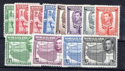 Anglické Kolonie/Somaliland - SG 93 - 104, Joří VI, fauna, mapa/2388/7