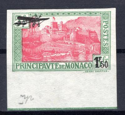 Monako/Monaco - Mi 137 U, krajová, letecká,  nezoubkovaná - vz/2713/13