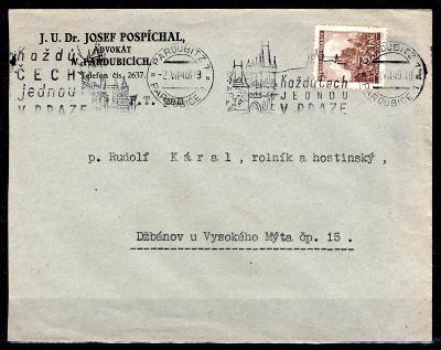 Protektorát/obálka vyplacená známkou  č. 43 strojové razítko  /1833/10