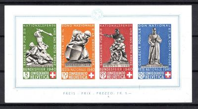 Švýcarsko/Švýcarsko - Mi. Bl. 5, Pro Patria 1940, hezký svěží /2624/15