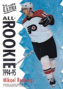 RENBERG Mikael Fleer Ultra 1994/95 All Rookie č. 8 Philadelphia Flyers