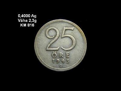 Švédsko - 25 Öre 1943 Ag