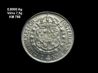 Švédsko - 1 Krona 1939 Ag