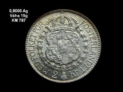Švédsko - 2 Kroner 1939 Ag