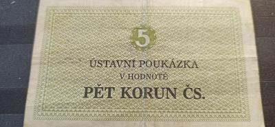 Ústavní poukázka Pět korun ČS. NVU Bělušice