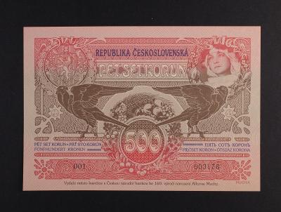 500 Kč 1919 výroční bankovka Mucha, novotisk Ivančice 2020