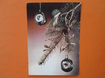 VÁNOCE - retro pohlednice - staré vánoční ozdoby - prošla poštou