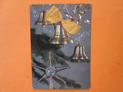 VÁNOCE - retro pohlednice - stará vánoční ozdoba hvězda z korálků