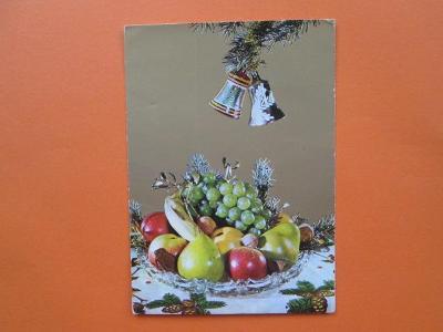 VÁNOCE - retro pohlednice - staré vánoční ozdoby - zlaté pozadí