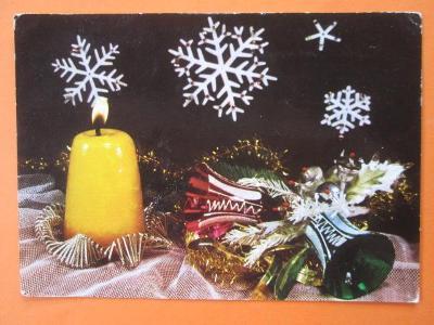 VÁNOCE - retro pohlednice - staré vánoční ozdoby