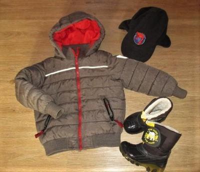 Chlapecká zimní bunda - 110 + svítící sněhule - 24  + čepice Spiderman