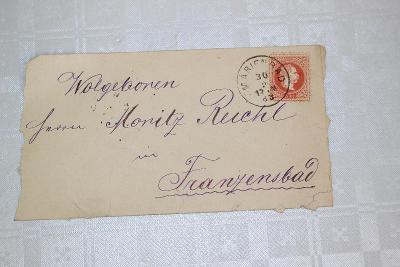STAROŽITNÁ OBÁLKA - ZNÁMKA + razítko MARIENBAD - MARIÁNSKÉ LÁZNĚ 1883
