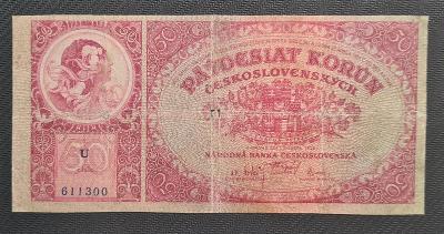 50 Koruna 1929, Neperforovaná, Vzácná Jednopísmenná Série U !!!