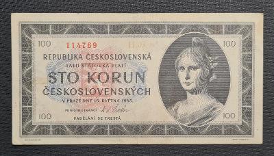 100 Koruna 1945, Nejvzácnější Série H 03 !!! TOP Stav