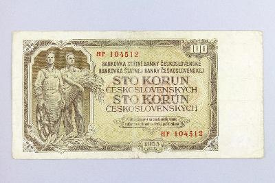 ČESKOSLOVENSKO // 100 Kčs 1953 HP / neperf. /148