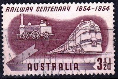 Austrálie 1954 Mi.248 prošla poštou, vlaky-železnice