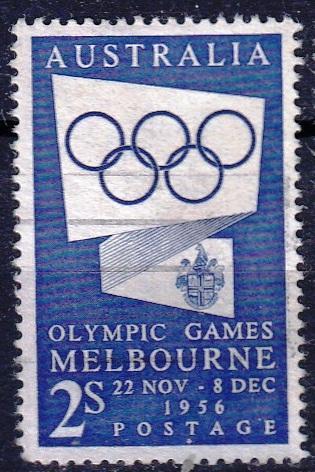 Austrálie 1954 Mi.250 prošla poštou, OH, olympiáda