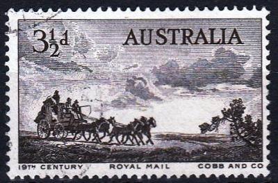 Austrálie 1955 Mi.254 prošla poštou