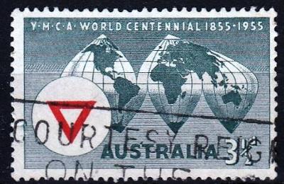 Austrálie 1955 Mi.256 prošla poštou