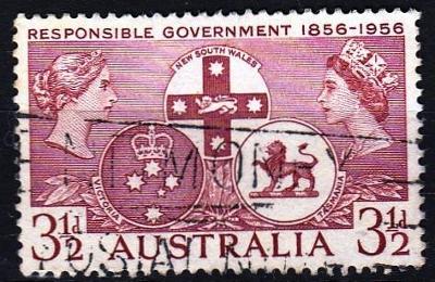Austrálie 1956 Mi.262 prošla poštou