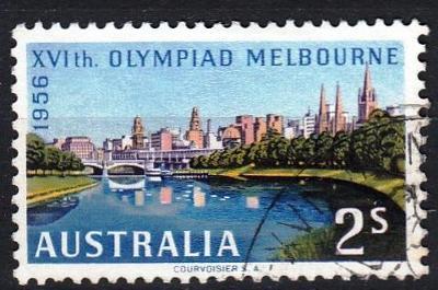 Austrálie 1956 Mi.269 prošla poštou, OH, olympiáda