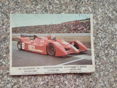 Pozvánka na autodrom z roku 1985