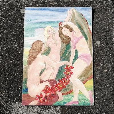 Akvarel - Tři grácie, Rudolf Tichý