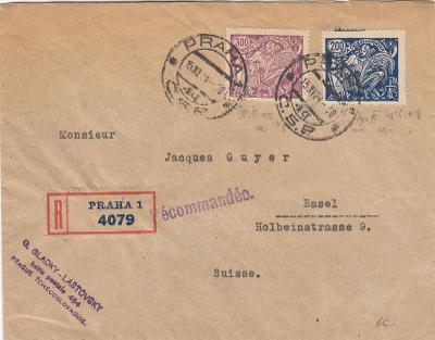 ČSR I -  R  dopis do Švýcarska - příchozí razítko