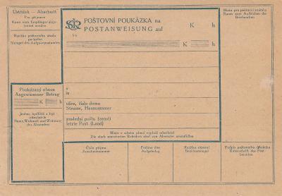 ČSR I -  poštovní poukázka 5 hal.