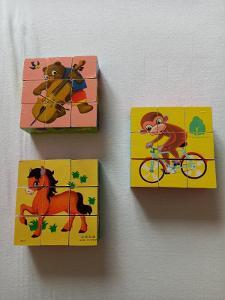 Retro dětské dřevěné kostky se zvířátky - 3 krabičky