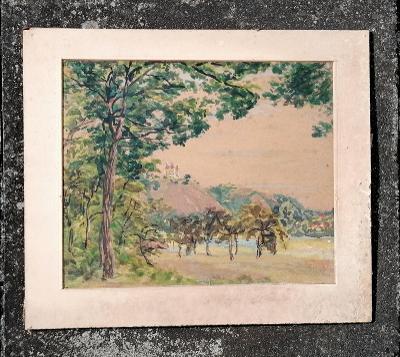 Akvarel - Floriánek u Mor. Krumlova, Rudolf Tichý