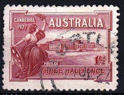 Austrálie 1927 Mi.80 prošla poštou