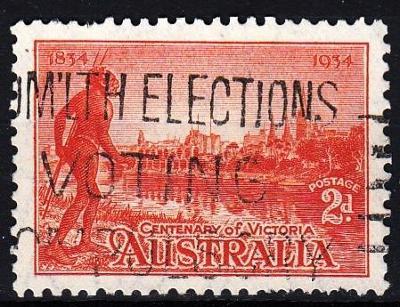 Austrálie 1934 Mi.120 prošla poštou