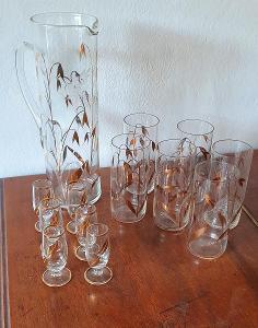 Starožitná nápojová souprava - Džbán +6 long sklenic+6 sklenic na liké