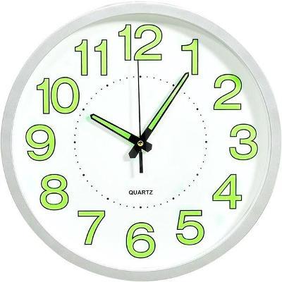 Hodiny Svítící nástěnné hodiny bílé 30 cm 325167