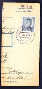 ČSSR - ústřižek průvodky - KOHOUTOV (Dvůr Králové n/L - okr. TU - 1946