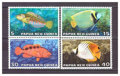 "Papua Nová Guinea 1976 kompletní série ""Fauna Cons. - Tropical Fish"""
