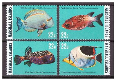 """Marshallovy ostrovy 1985 kompl. série """"Fish of Reef and  Ocean - 1985"""""""